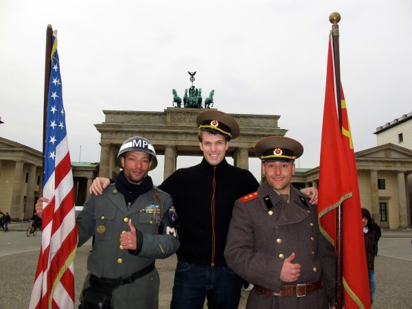 Jason at the Brandenburg Gate Memorial to the Berlin Airlift