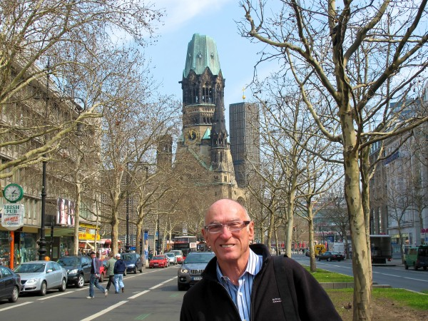 Michael on the famous Kurfürstendamm in West Berlin with the bombed-out Kaiser Wilhelm Memorial Church in the background. The original church on the site was built in the 1890s. It was badly damaged in a bombing raid in 1943. A grey day for a boat ride, but the hot glühwein warms us up. Berlin has more miles of canal than Venice!