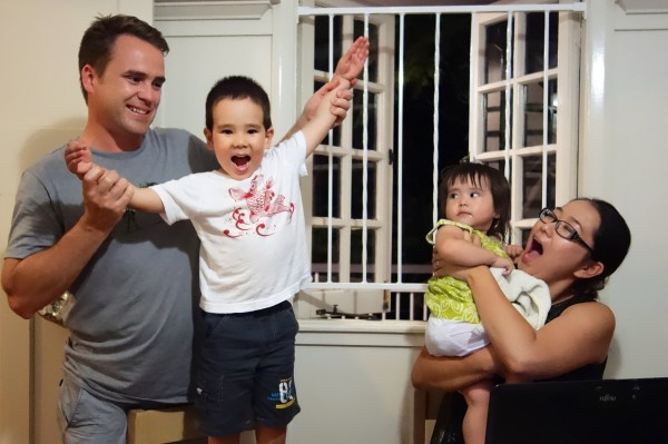 3¾ years-old grand nephew Jake singing a song in Japanese for the visitor - with his sister Leah and dad Tim, mum Yuki