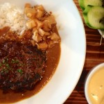 I went back with friends and enjoyed the biggest hamburger rissole of beef steak with Japanese curry, rice and salad – 'Nikomi Hamburg Steak' for $18.