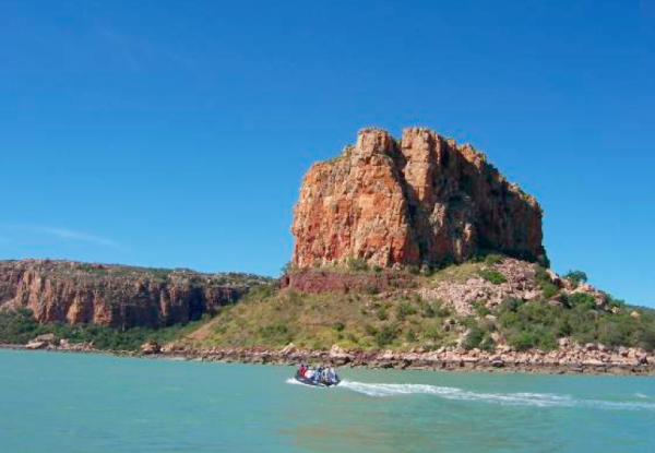 Going ashore from 'Orion' in a zodiac to view Windjina aboriginal rock paintings at Raft Point - on the Kimberley cruise in 2006