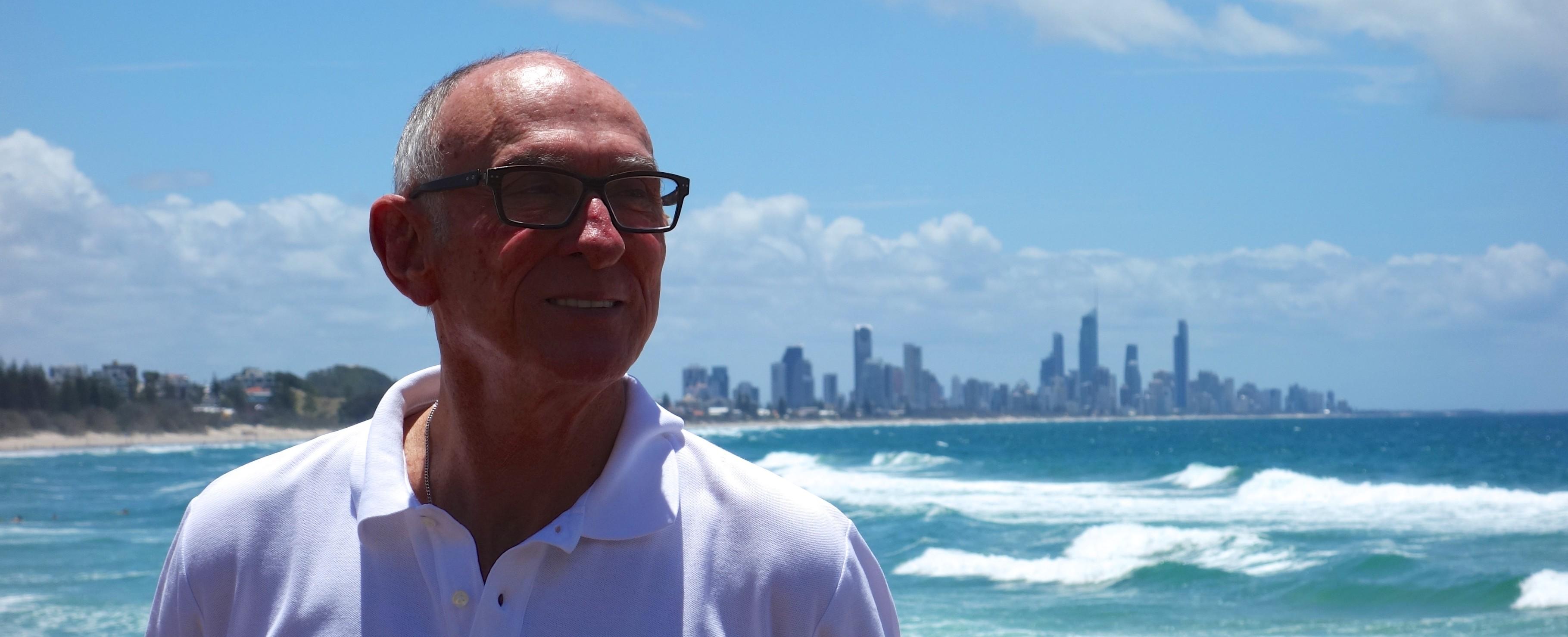 Uncle Michael on Burleigh Beach looking towards Surfers Paradise