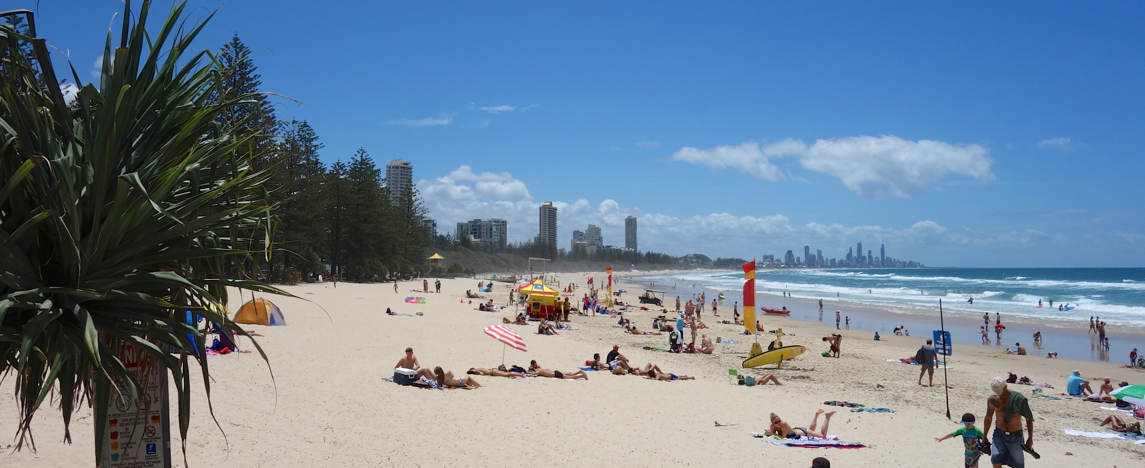The surfing beach at Burleigh Heads
