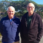 Tony and Michael , friends of 20 years catching up for a coffee at Nobby Beach