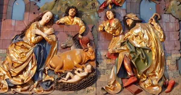 The Nativity scene above is one of twelve side panels of an altarpiece in the 14th century St Mary's Basilica in Krakow. I photographed it at the time with my Christmas greetings to you in mind.