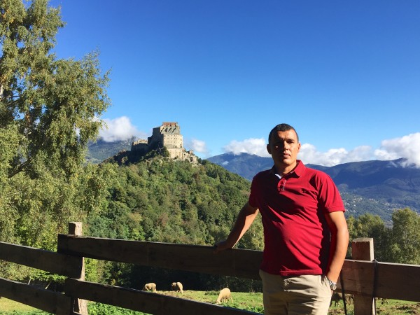 Less than an hour out of Turin, after driving round the mountain, Libyan friend Naser spots the Sacra on a far hill.