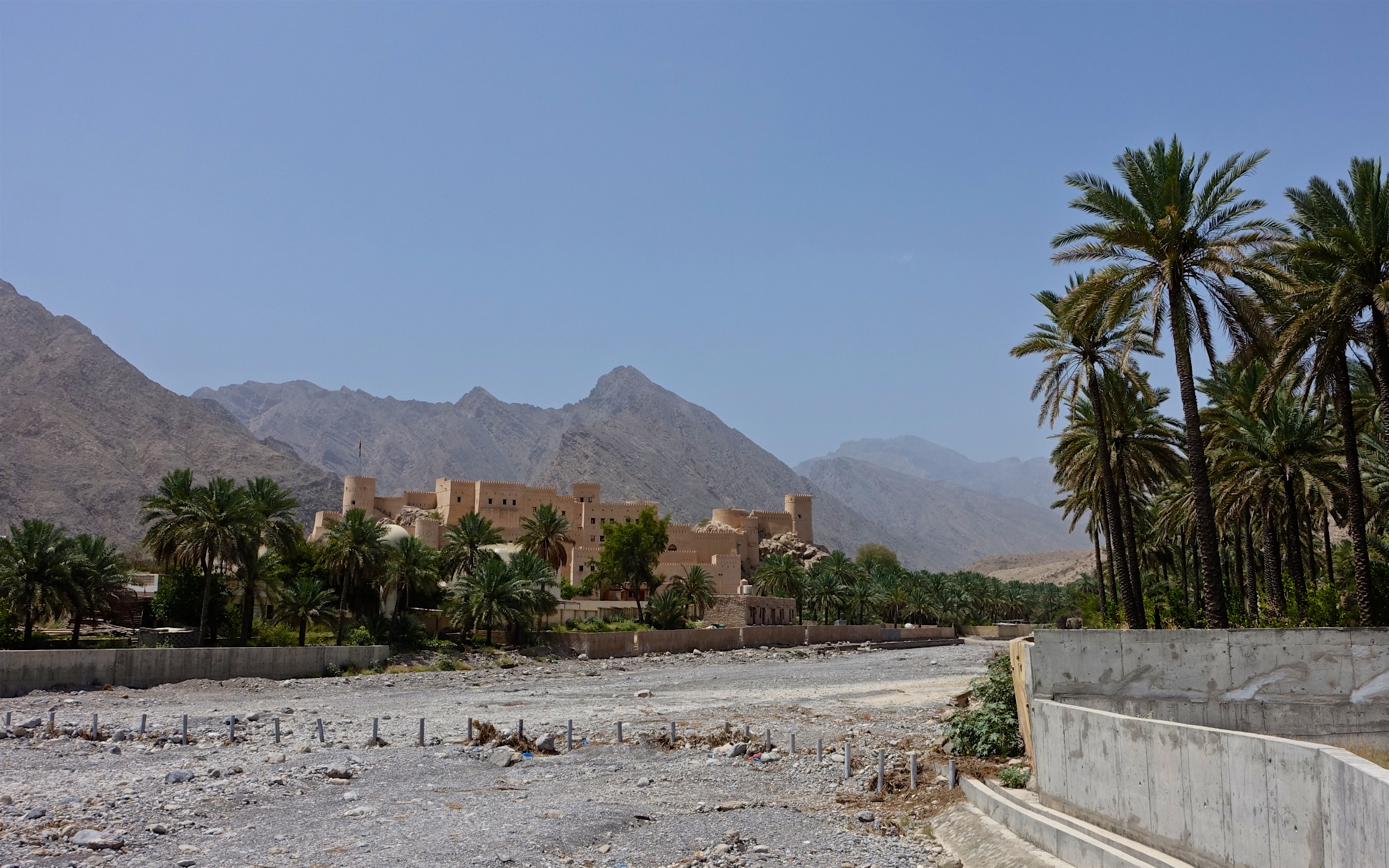 Nakhal Fort overlooking vast palm orchards dates back to the pre-Islamic era - located at the edge of the Jabal Akhdar mountains ini the northwest of Oman.