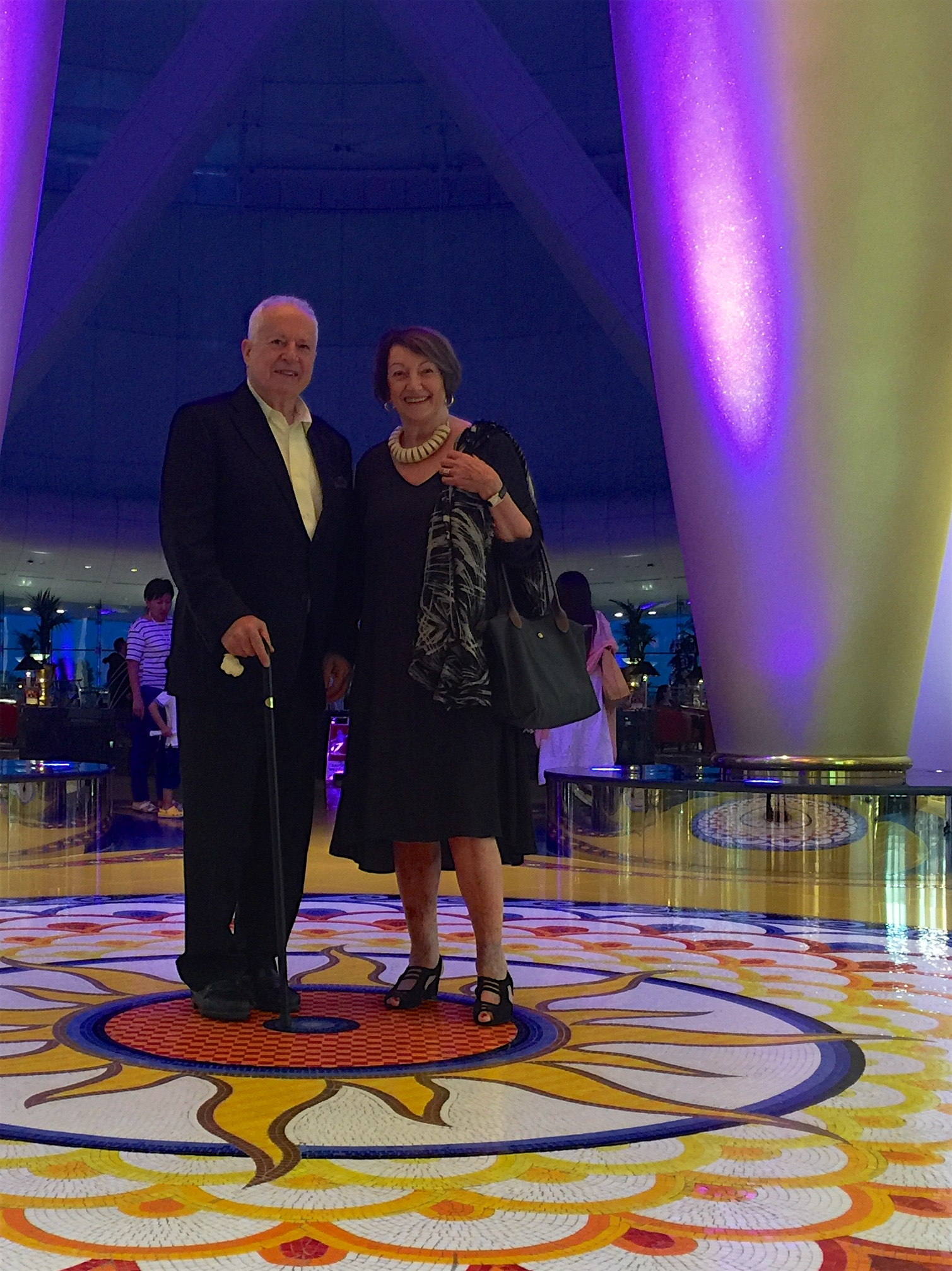 Jim and Pam Turner enjoying the Arabesque design influences in one of the foyers in the Burj. Colours and lighting are definitely Arabian, but would also go over well in Hollywood.
