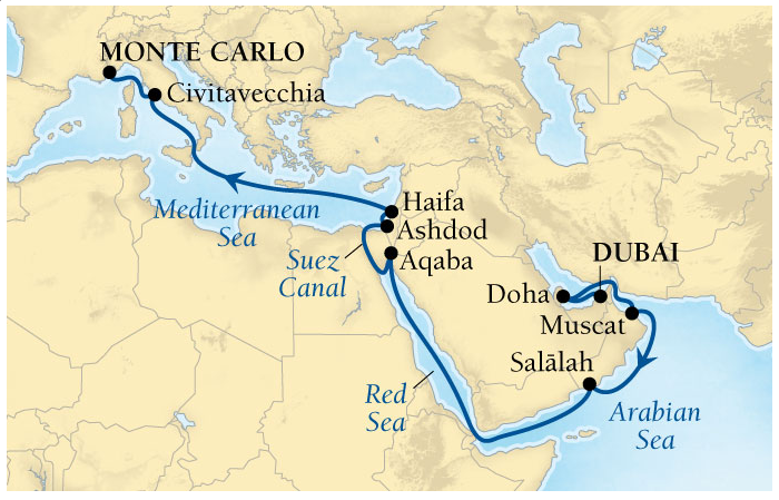 Itinerary of Seabourn Sojourn for the next 21-days