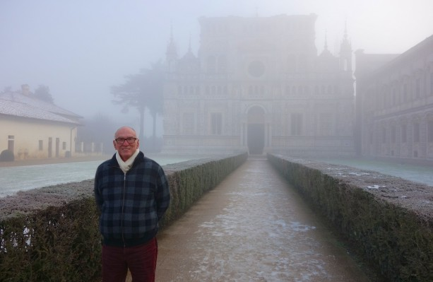 Michael literally 'skating on thin ice' at the 15 C Carthusian Monastery of Certosa di Pavia