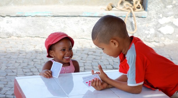 A hand of cards at a young age on Santo Antão in the Cape Verde Islands
