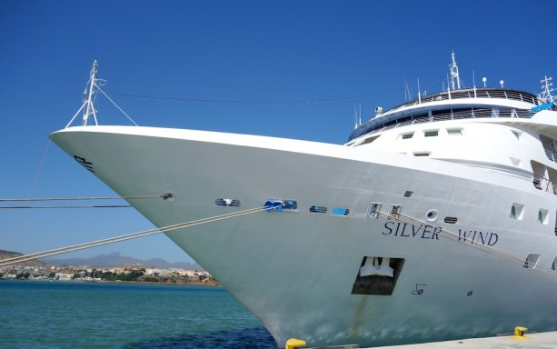 Bow of Silver Wind at port in Praia, Cape Verde Islands - Only 170 passengers on board