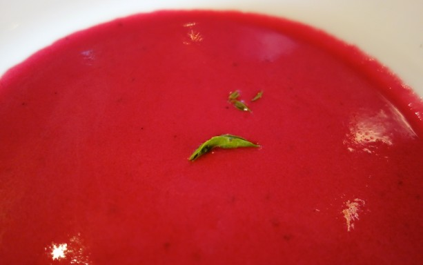 Chilled Beetroot, Strawberry and Ginger Soup