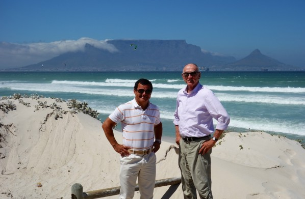 Valerio and Michael looking back over Table Mountain in Capetown