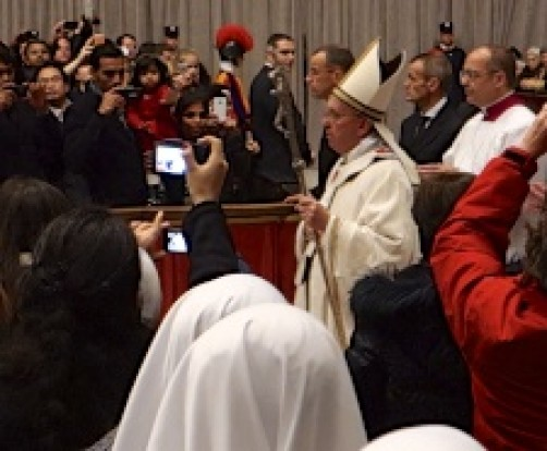 Pope Francis enters St Peter's Basilica for Midnight Mass - that's how close I was