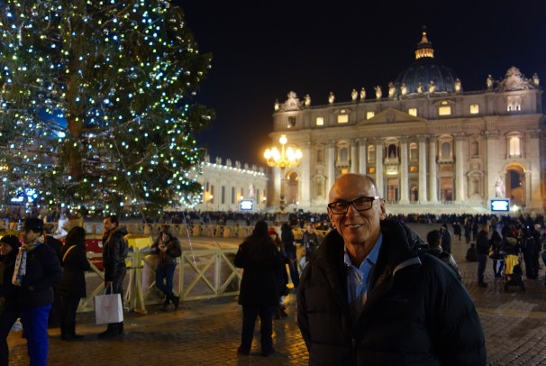Michael, before the giant Christmas Tree in St Peter's Square