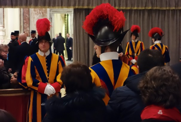 Swiss Guards - a palpable air of expectation waiting for the Mass to begin.
