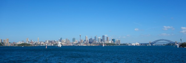 Sydney panorama - from the Eastern suburbs across the downtown to the Opera House and Harbour Bridge
