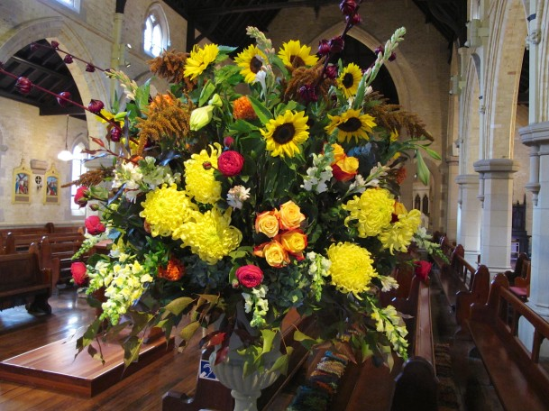 One of the Gerhard Haas' 'masterly' floral installations at St Canice's