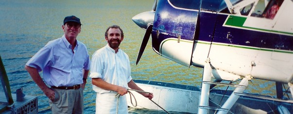 Chef meets the sea plane with a demitasse of 'tomato tea' at Berowra Waters Inn on the Hawkesbury River, north of Sydney in the 90's
