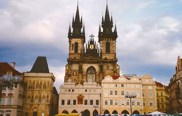 Sun glints off gold balls on wonderful spires that typify this medieval city of Prague