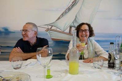 Edmundo and Shenagh - time for many a laugh between delicious home-made regional specialties at L Playa Trattoria (near Salerno)