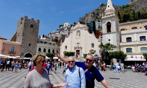 A little fun on our way to lunch in Taormina - Juanita, Edmundo and Frank