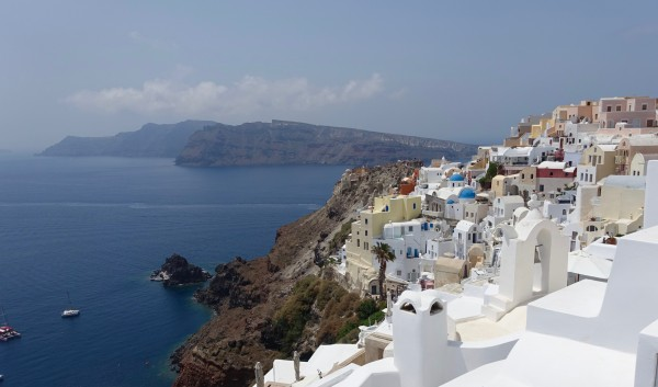 The picture postcard view from Oia in Santorini