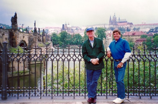 Michael and the late David Michôd in Prague in 1993 - on an afternoon with some sunshine