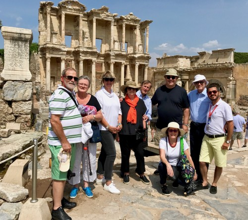 Our happy group of nine with Hakan the local tour guide - at the Library in Ephesus Ancient City