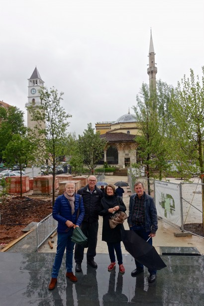 Our little group outside the clock tower and 19th century Ethem Bey Mosque in Tirana