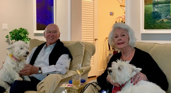 Four 'Scotties's scurry to meet us but Cupcake and Winston insist on sitting on laps of Michael Musgrave and Susan Kelley for a photo shoot.
