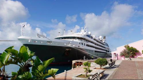 Ponant's Le Boreal at dock in St George Bermuda
