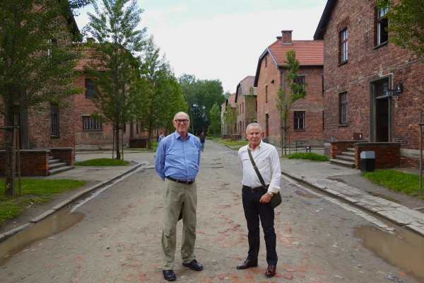 Michael and Edmundo outside the Museum at Auschwitz