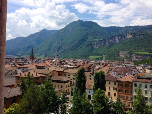 View out over the tiled roofs of Trento and the Alps beyond  from the from Buonconsiglio Castle where Prince-bishops ruled until the Napoleonic era
