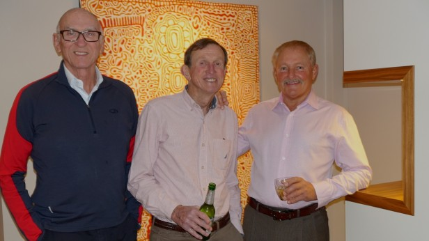 Pam and Ken host two birthday boys  - Michael at 72, and Victor at 70  (with host Ken soon to be 80, in the middle)