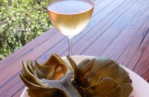 Artichoke, dipped  in lemon garlic mango mayo - with a Rose from Paso Robles