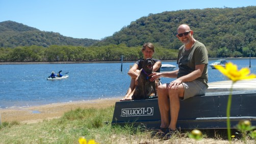 Host Ian with his neighbour and 5 year-old Staffie 'up Patonga Creek'