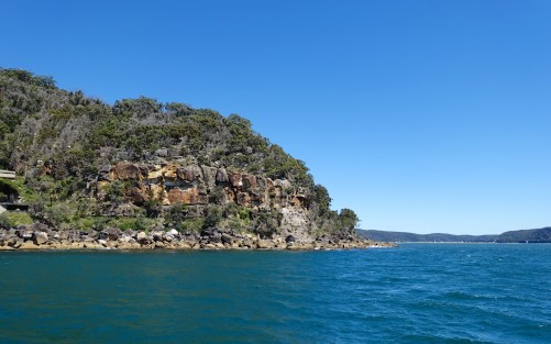 Sandstone cliffs and bushland of the Kuring-gai Chase National Park - Patonga Beach ahead on the right of the photo