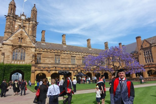 Paul and Jacaranda in the quadrangle of the University of Sydney