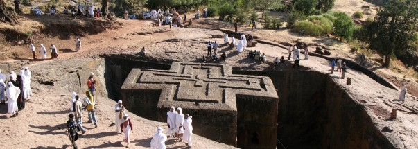 The 12th century Church of Saint George, one of many churches hewn into the rocky hills of Lalibela, Ethiopia