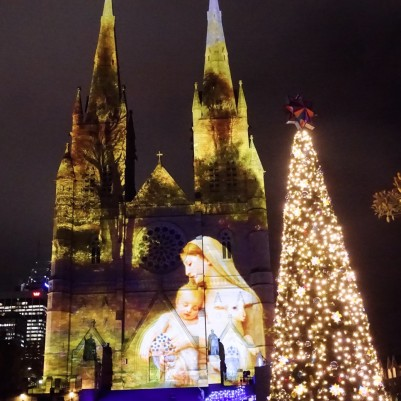 Lights of Christmas 2014 illuminates St Mary's Cathedral, Sydney's oldest and grandest Cathedral.