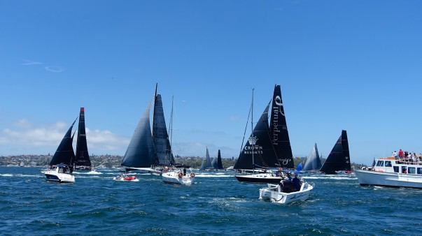 All manner of craft jostle for position as the competitors tack to get ready for the starting gun