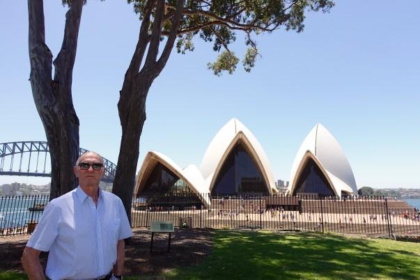 Three Sydney icons - Michael, the Bridge and the Opera House