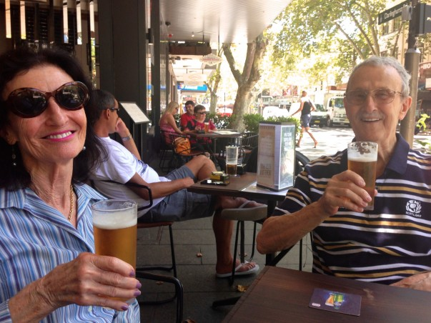 Time out for a refreshing beer at the Bourbon after walking through the Sydney Botanical Gardens on the way home