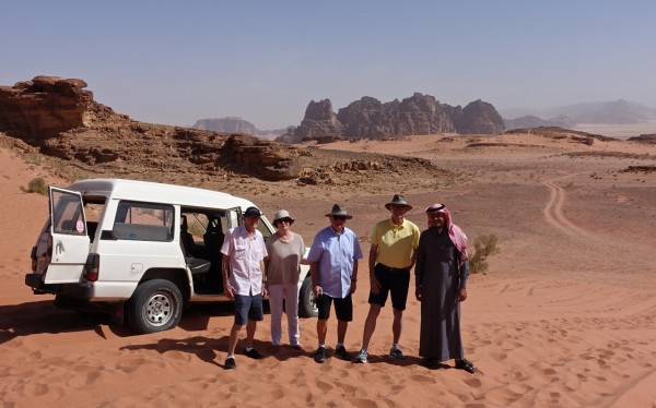 In Wadi Rum - Ken and Pam, Jim with Michael - and Saladin our Bedouin driver