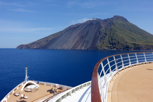 Sailing by Mt Stromboli