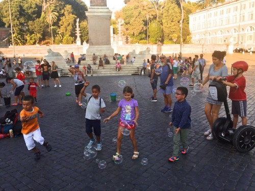 ROME . . . In Piazza del Popolo . . . out walking, late on a Roman Summer afternoon.