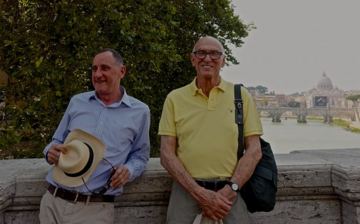 Paul and Michael - 'On pilgrimage' along the Tiber towards the Holy Door of St Peter's and our plenary indulgence
