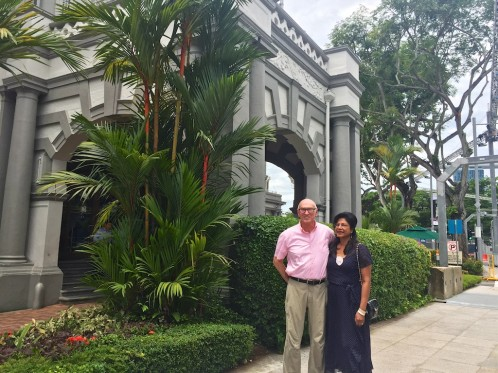 Joy and Michael at the Singapore Cricket Club for lunch